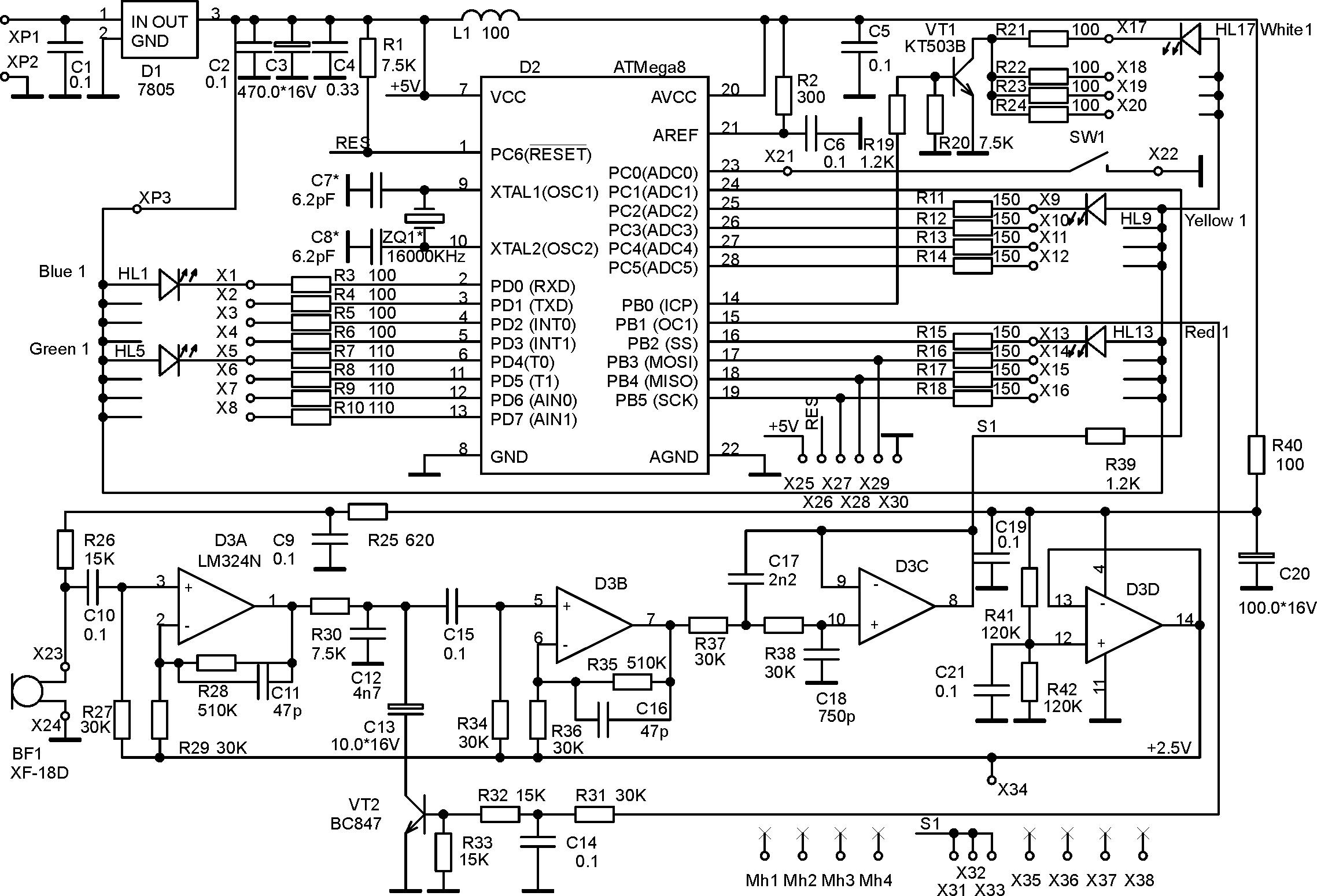цветомузыка на транзисторах схема