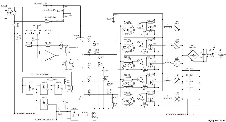принципиальная схема цветомузыки для автомобиля - Исскуство схемотехники.