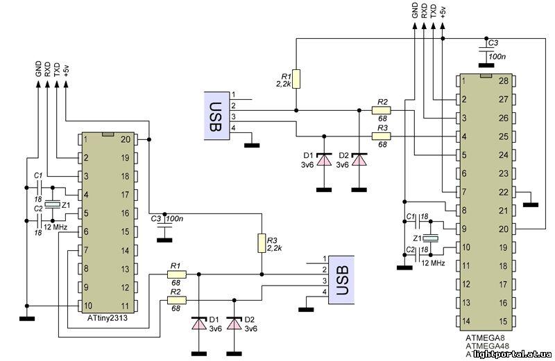 Схемы переходников RS232-TTL.