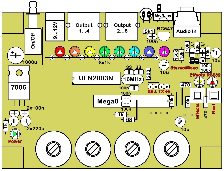 рабочая схема цветомузыки на светодиодах